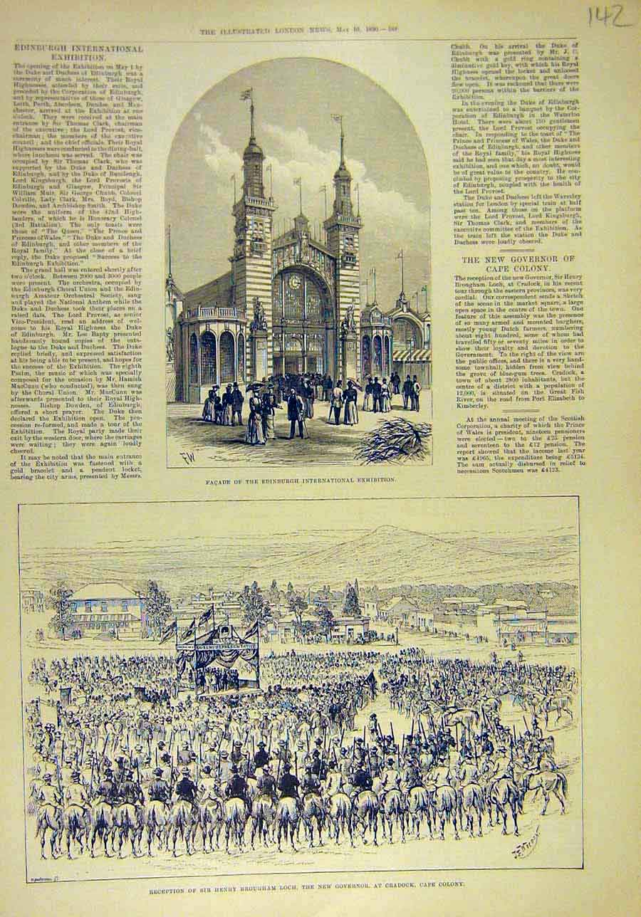 Print 1890 Edinburgh Exhibition Facade Loch Cradock Africa 428011 Old Original