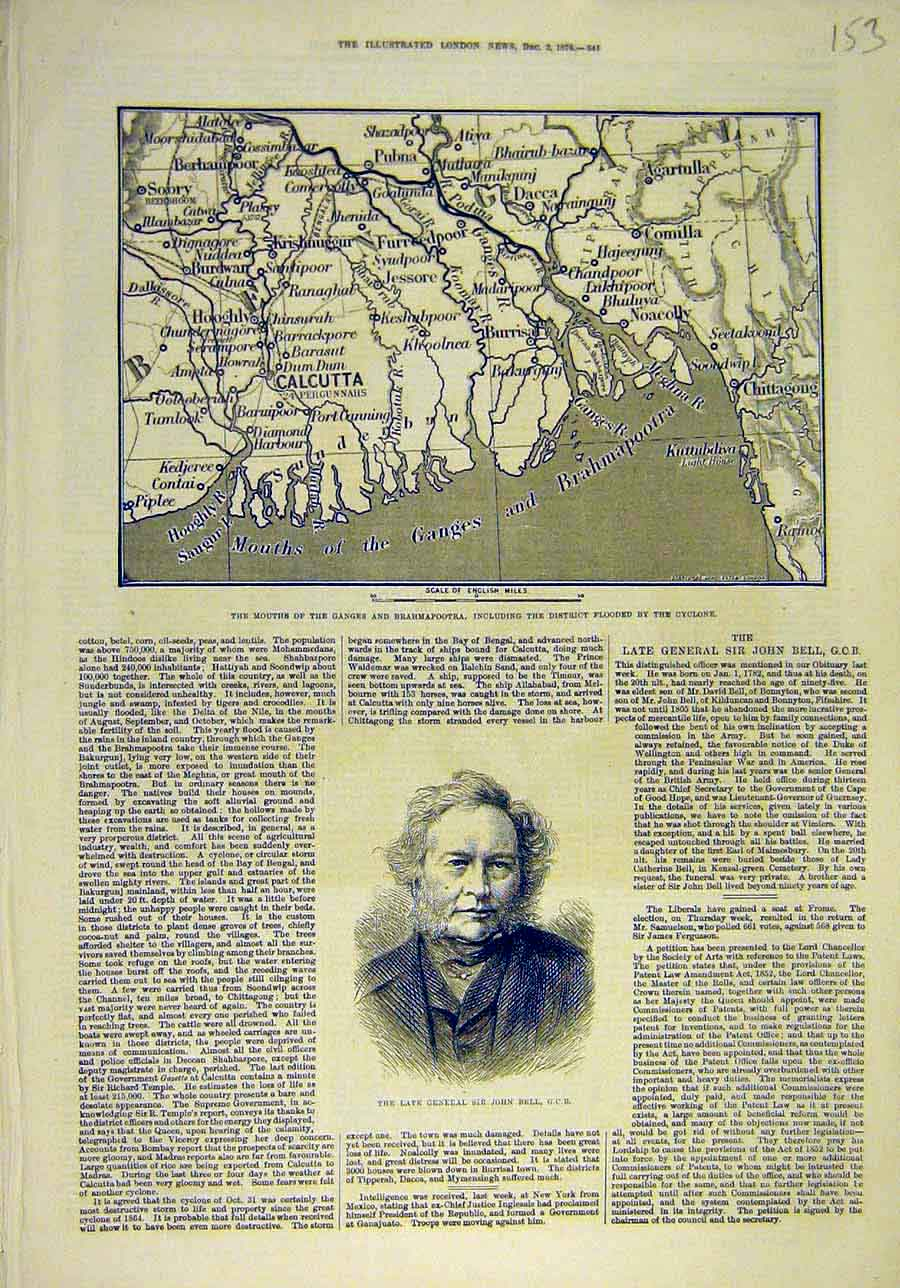 Print 1876 Map Cylcone Ganege India Brahmapootra General Bell 538011 Old Original