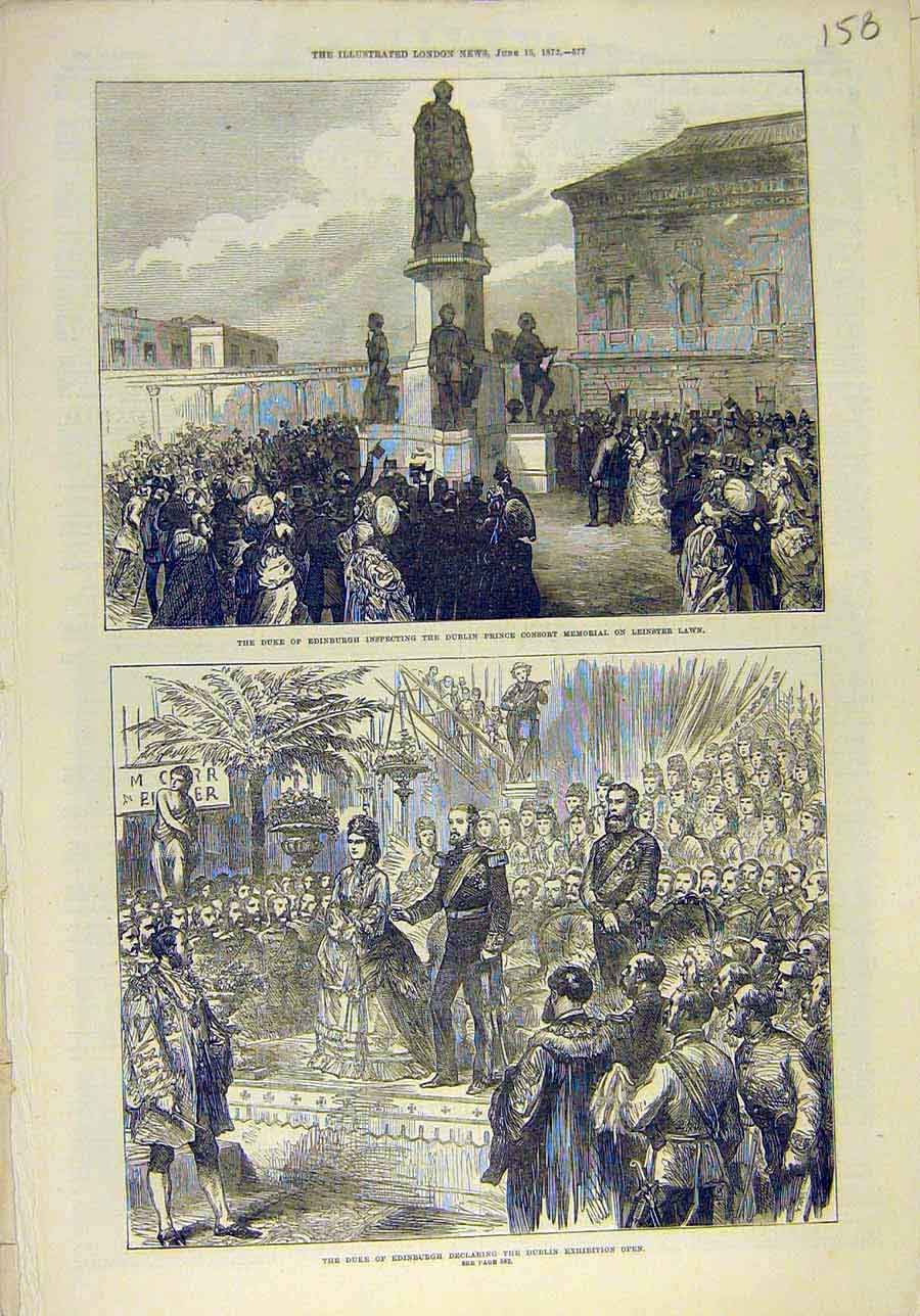 Print 1872 Duke Edinburgh Leinster Dublin Exhibition 588011 Old Original