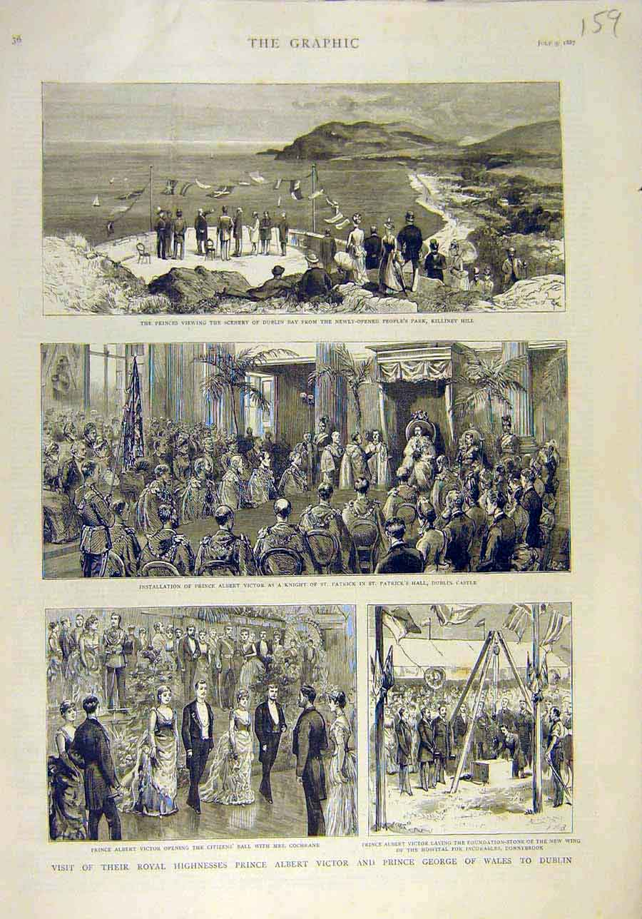 Print 1887 Prince Victor George Wales Dublin Royal Dublin 598011 Old Original