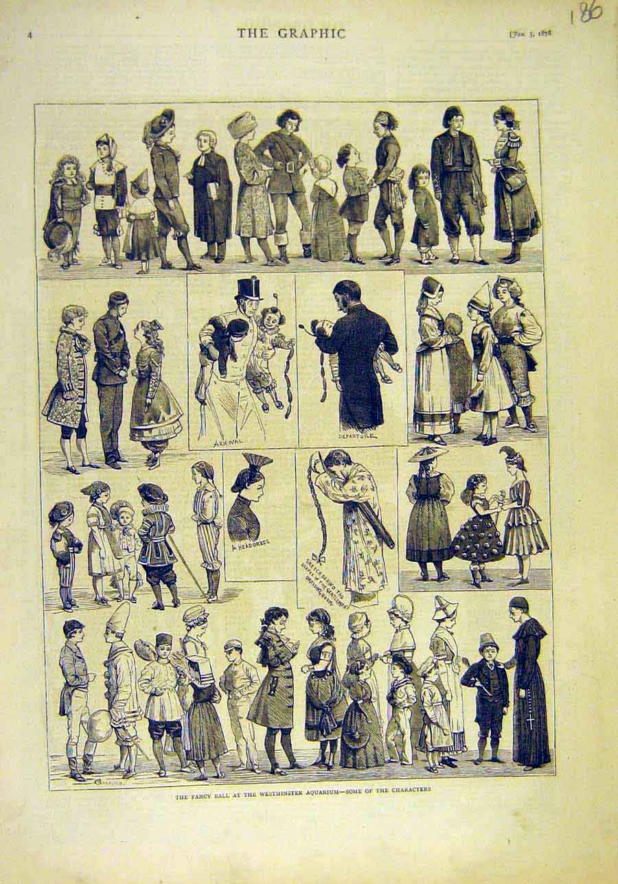 Print 1878 Fancy-Ball Westminster Aquarium Character People 868011 Old Original