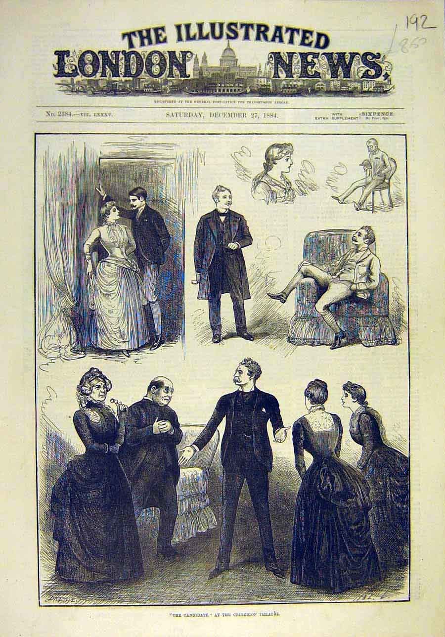 Print 1884 Candidate Criterion Theatre Sketches Actors 928011 Old Original