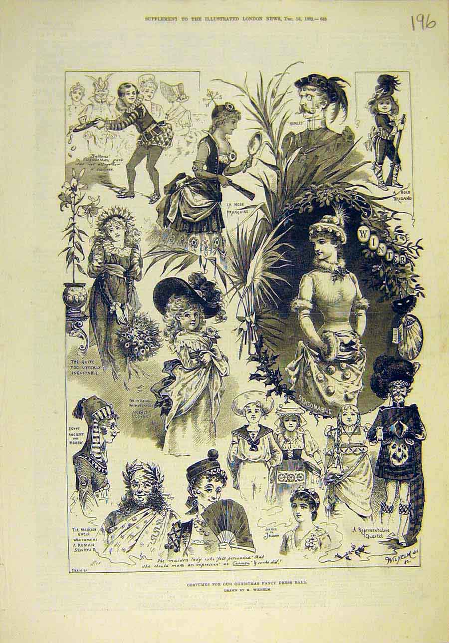 Print 1882 Costumes Christmas Fancy-Dres Ball Wilhelm 968011 Old Original