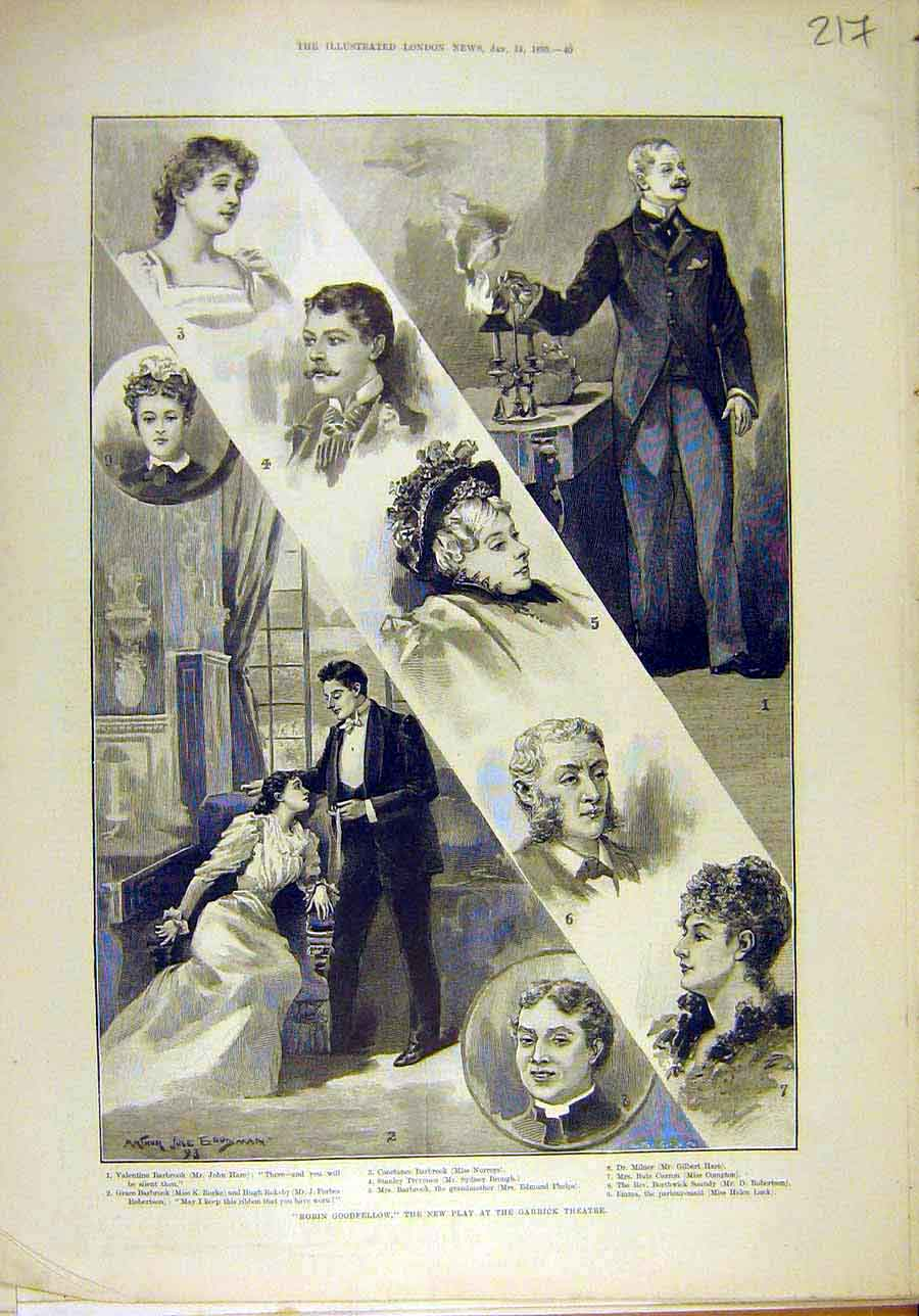 Print 1893 Robin-Goodfellow Garrick Theatre Actors Scene 178011 Old Original