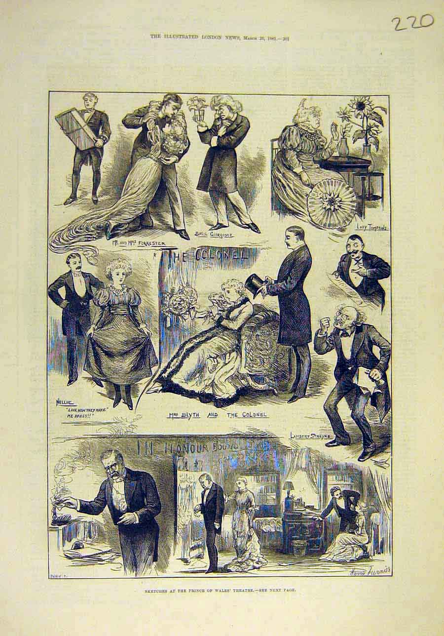 Print 1881 Sketches Theatre Blythe Colonel Prince Wales 208011 Old Original