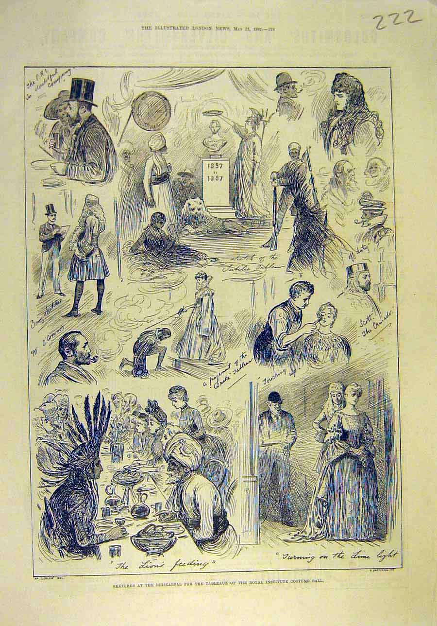 Print 1887 Sketches Rehearsal Royal Institute Costume Ball 228011 Old Original