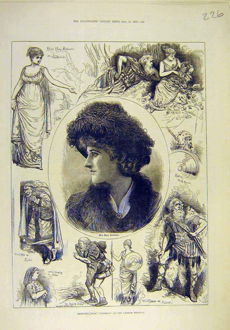 Print 1883 Sketches Ingomar Lydeum Theatre Anderson Actress 268011 Old Original