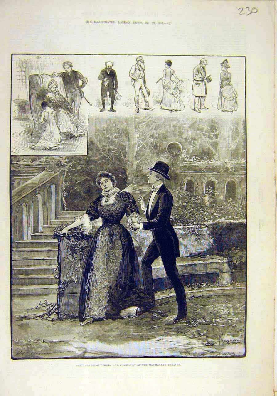Print 1883 Sketches Lords Commons Haymarket Theatre Scenes 308011 Old Original