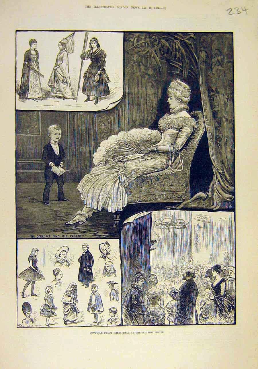 Print 1884 Juvenile Fancy-Dress Ball Mansion House Sketches 348011 Old Original