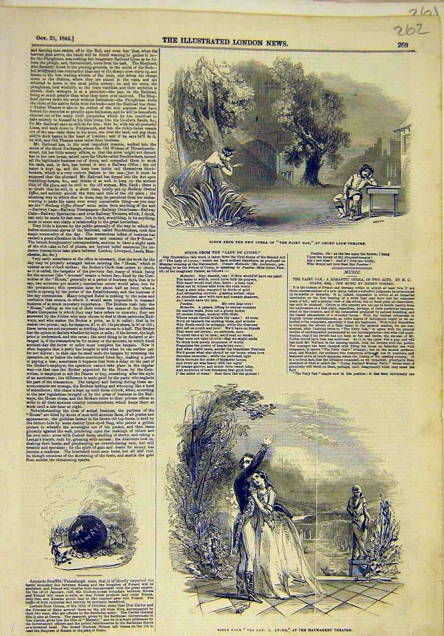 Print 1845 Scene Opera Fairy-Oak Theatre Lyons Sketches 628011 Old Original
