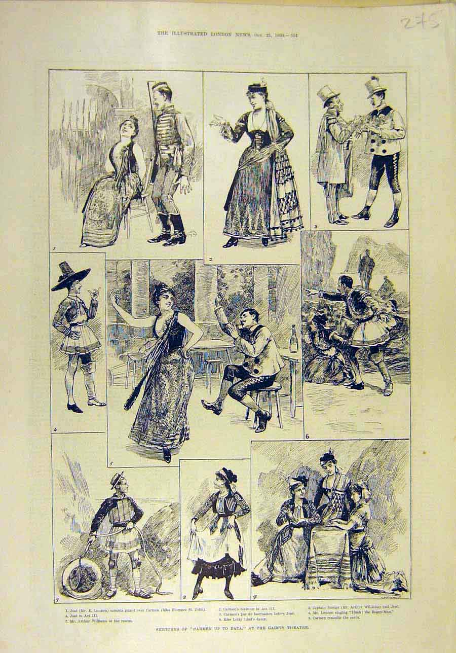 Print 1890 Sketches Carmen Gaiety Theatre Scenes 758011 Old Original