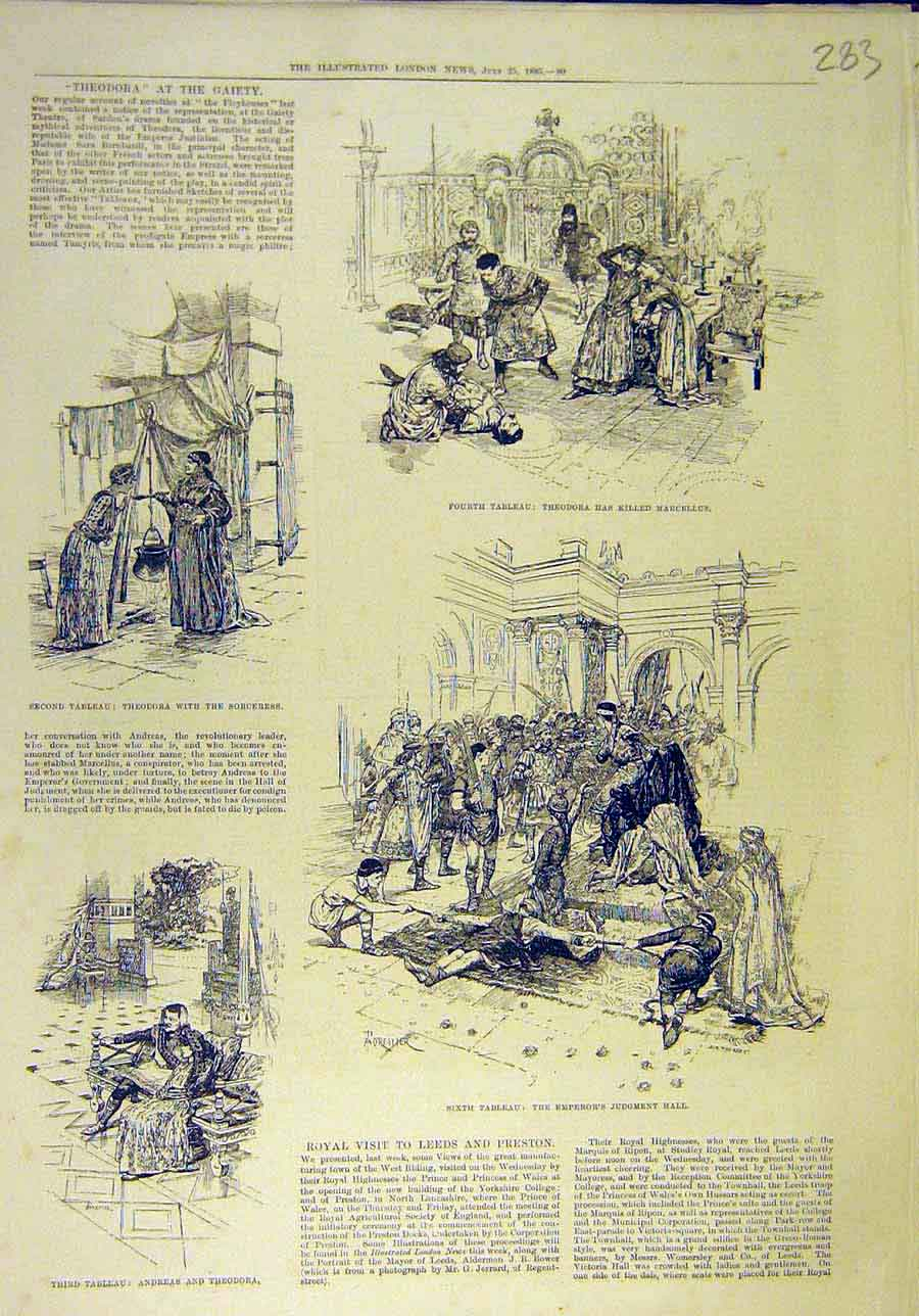 Print 1885 Theodora Geity Theatre Scenes Tableau Andreas 838011 Old Original