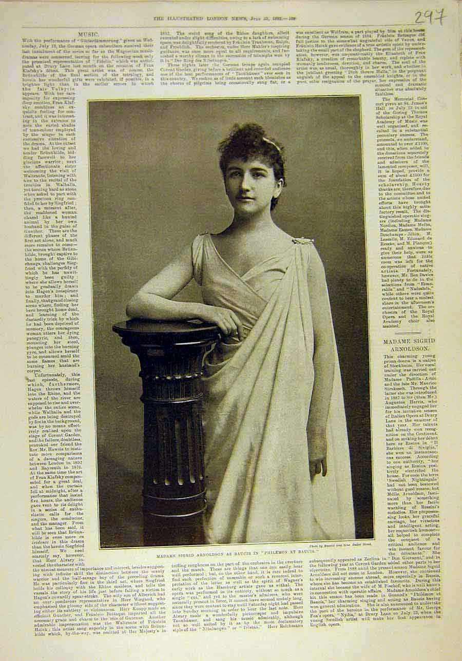 Print 1892 Arnoldson Baucis Theatre Actress Portrait 978011 Old Original