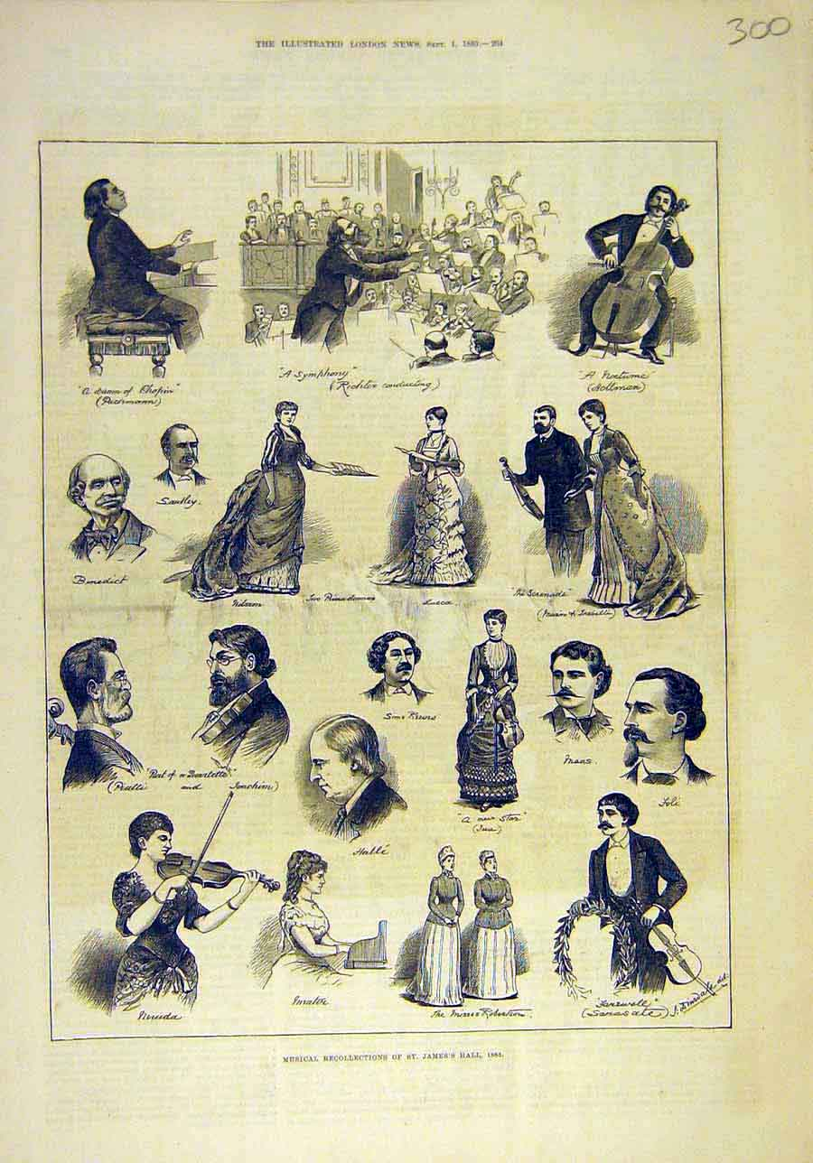 Print 1883 Musical Rest James'S Hall Theatre Music 008011 Old Original