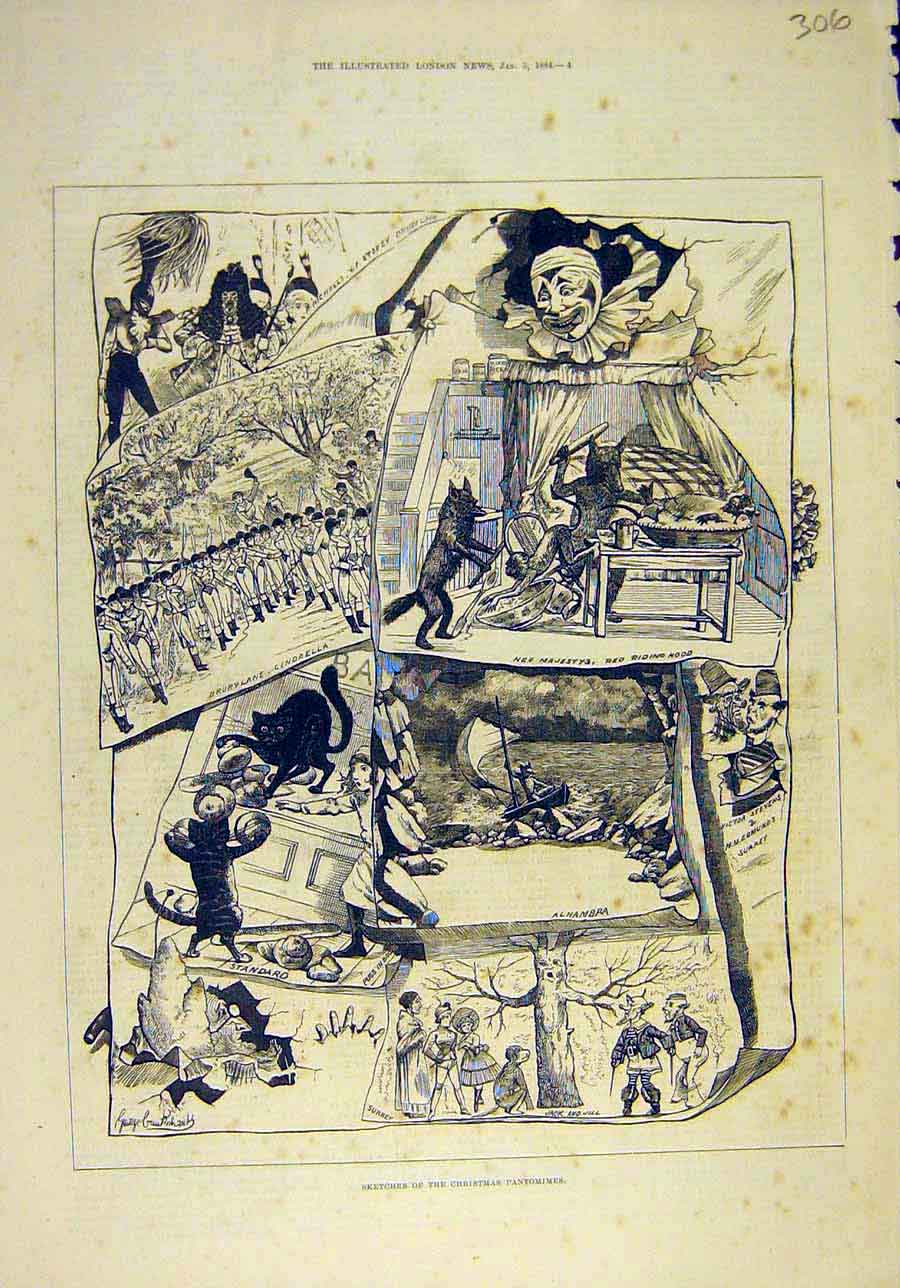 Print 1884 Sketches Christmas Pantomimes Theatre Scenes 068011 Old Original