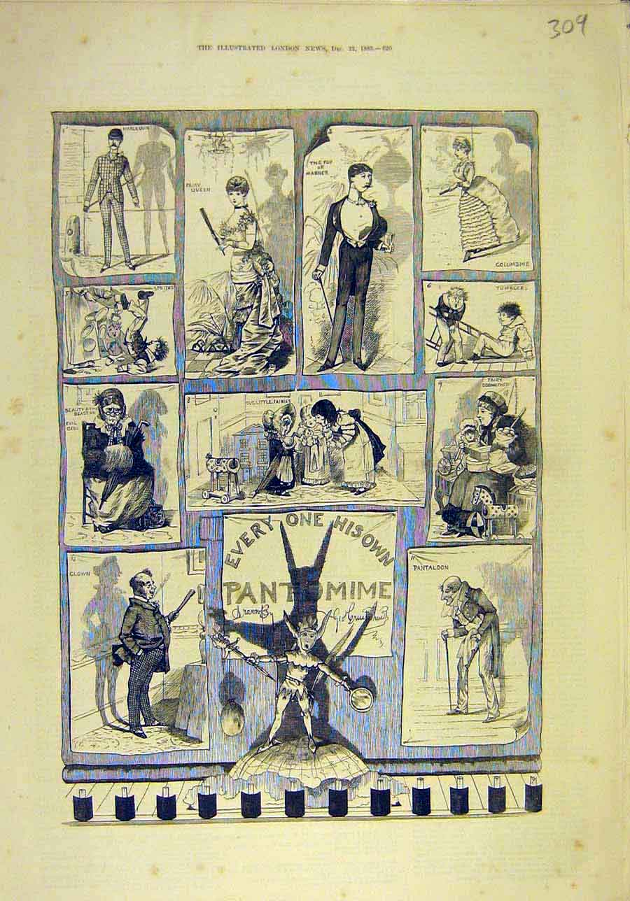 Print 1883 Pantomime Scenes Actors Actress Sketches 098011 Old Original