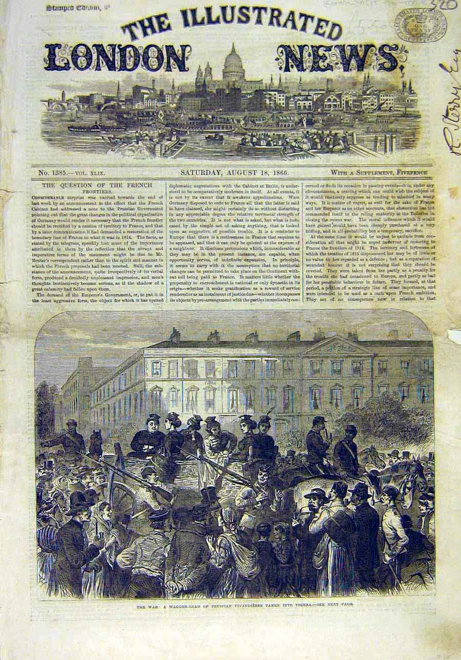 Print 1866 War Waggon-Load Prussian Vivandiers Vienna 208011 Old Original