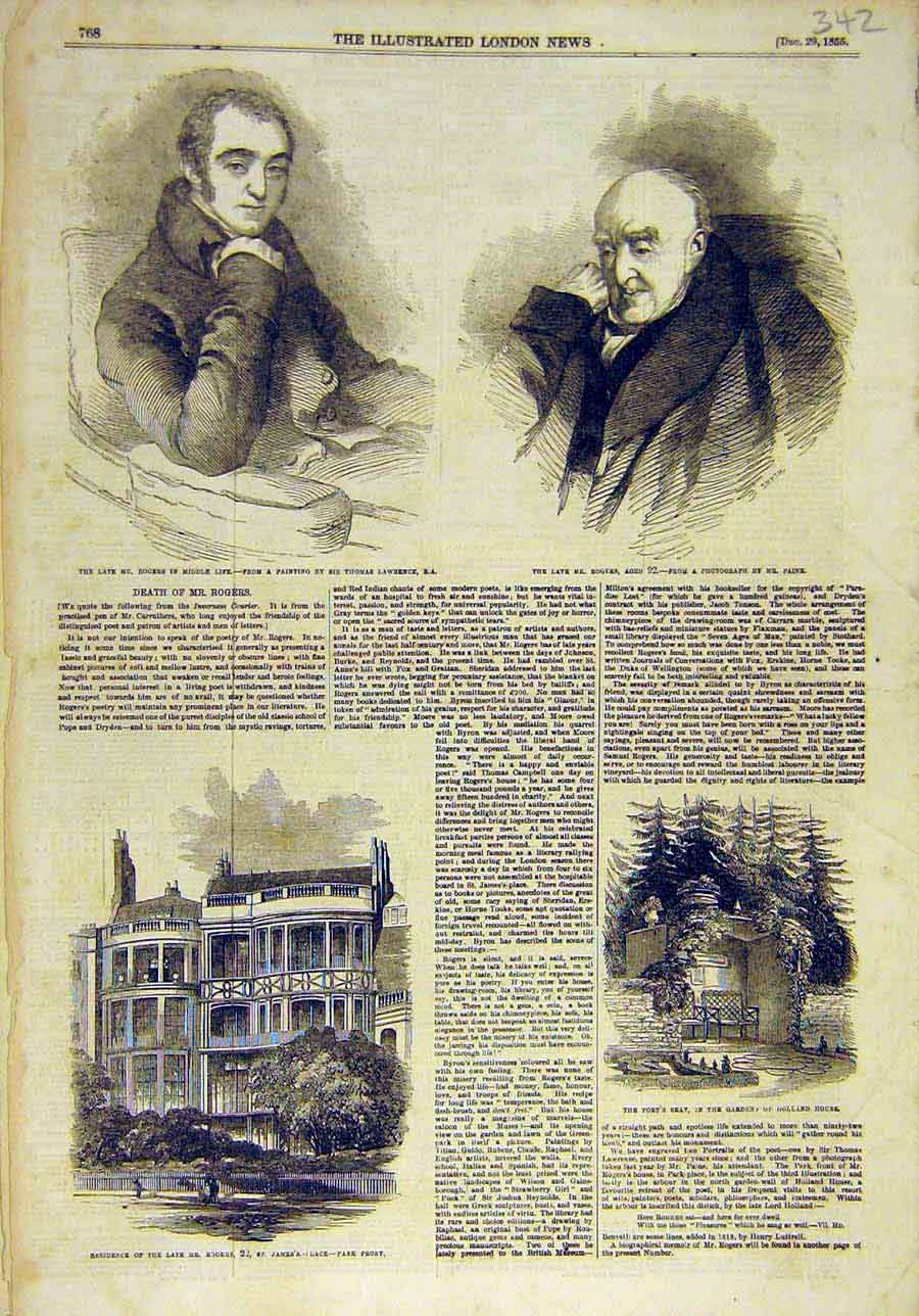 Print 1855 Portrait Rogers Poet Patron Arts Holland House 428011 Old Original