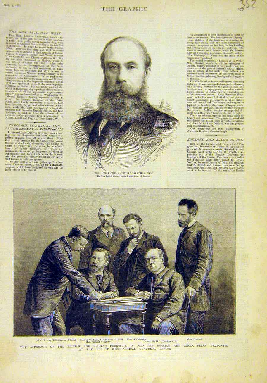 Print 1881 Portrait Sackville Venice Anglo-Indian Congress 528011 Old Original