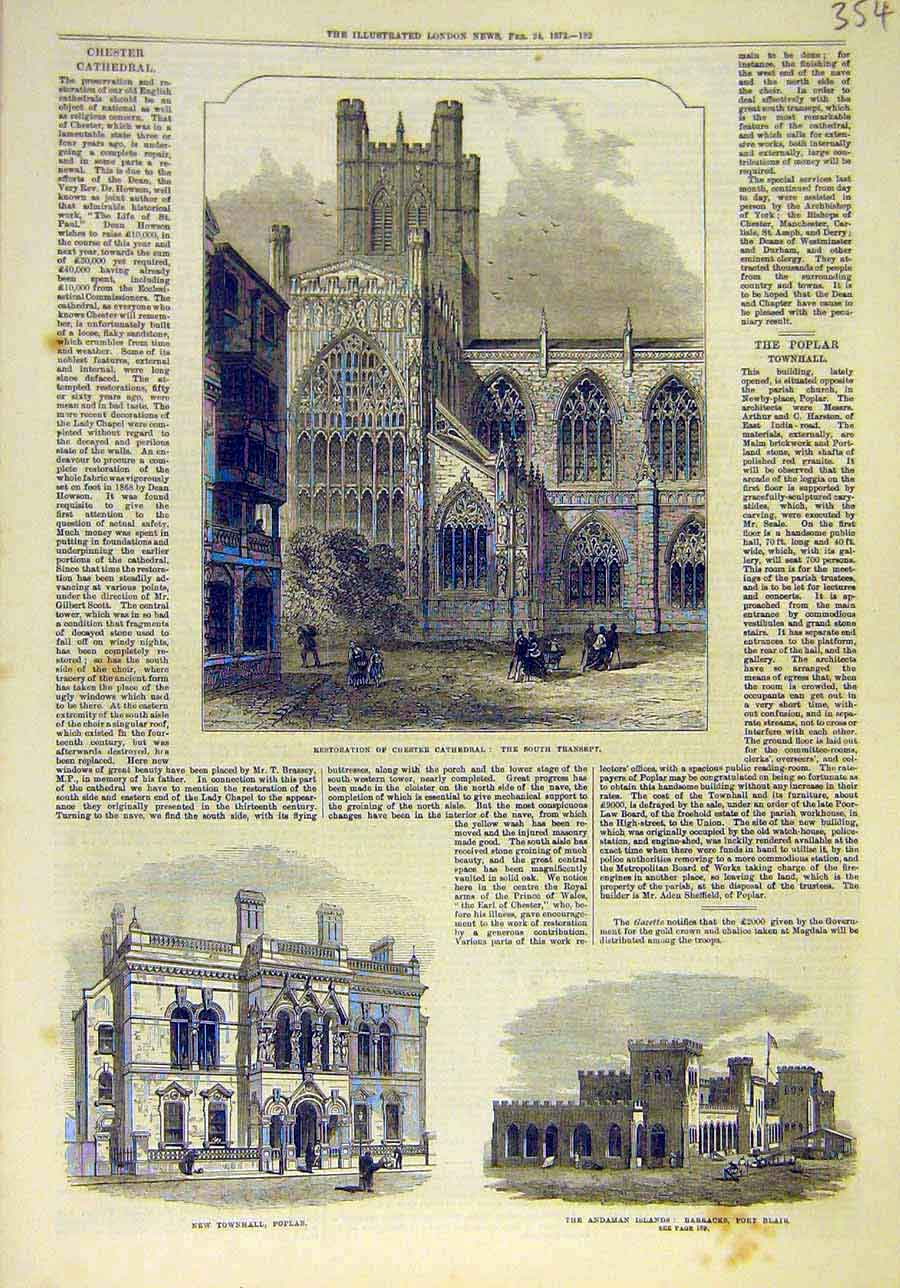 Print 1872 Chester Cathedral Building Townhall Poplar Andaman 548011 Old Original