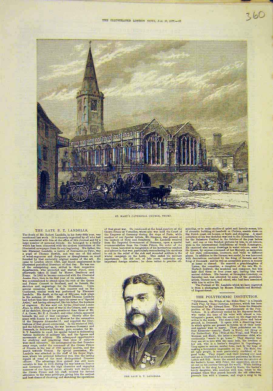 Print 1877 St Mary'S Cathedral Church Truro Building Landells 608011 Old Original