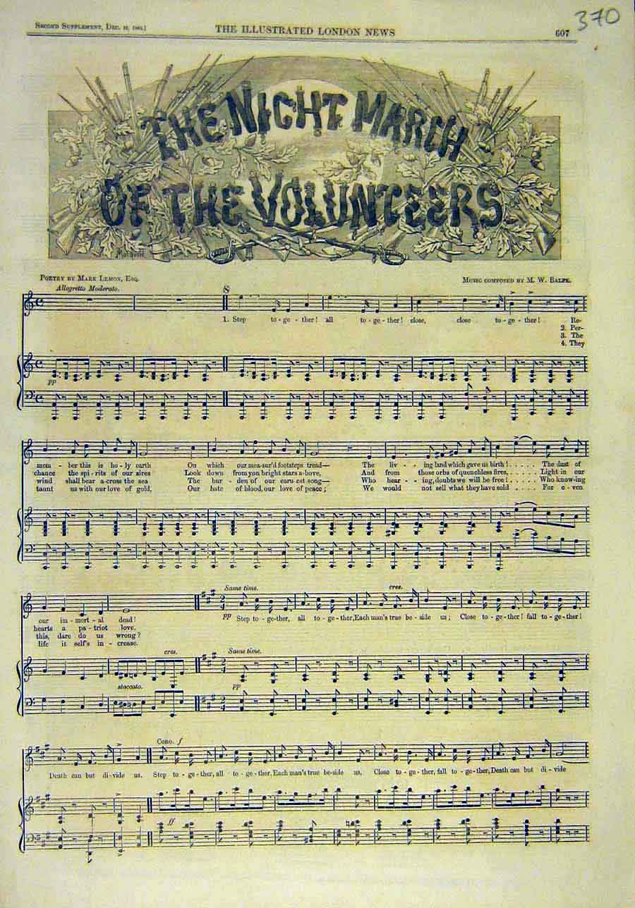Print 1860 Night-March Volunteers Music-Score Song-Sheet 708011 Old Original