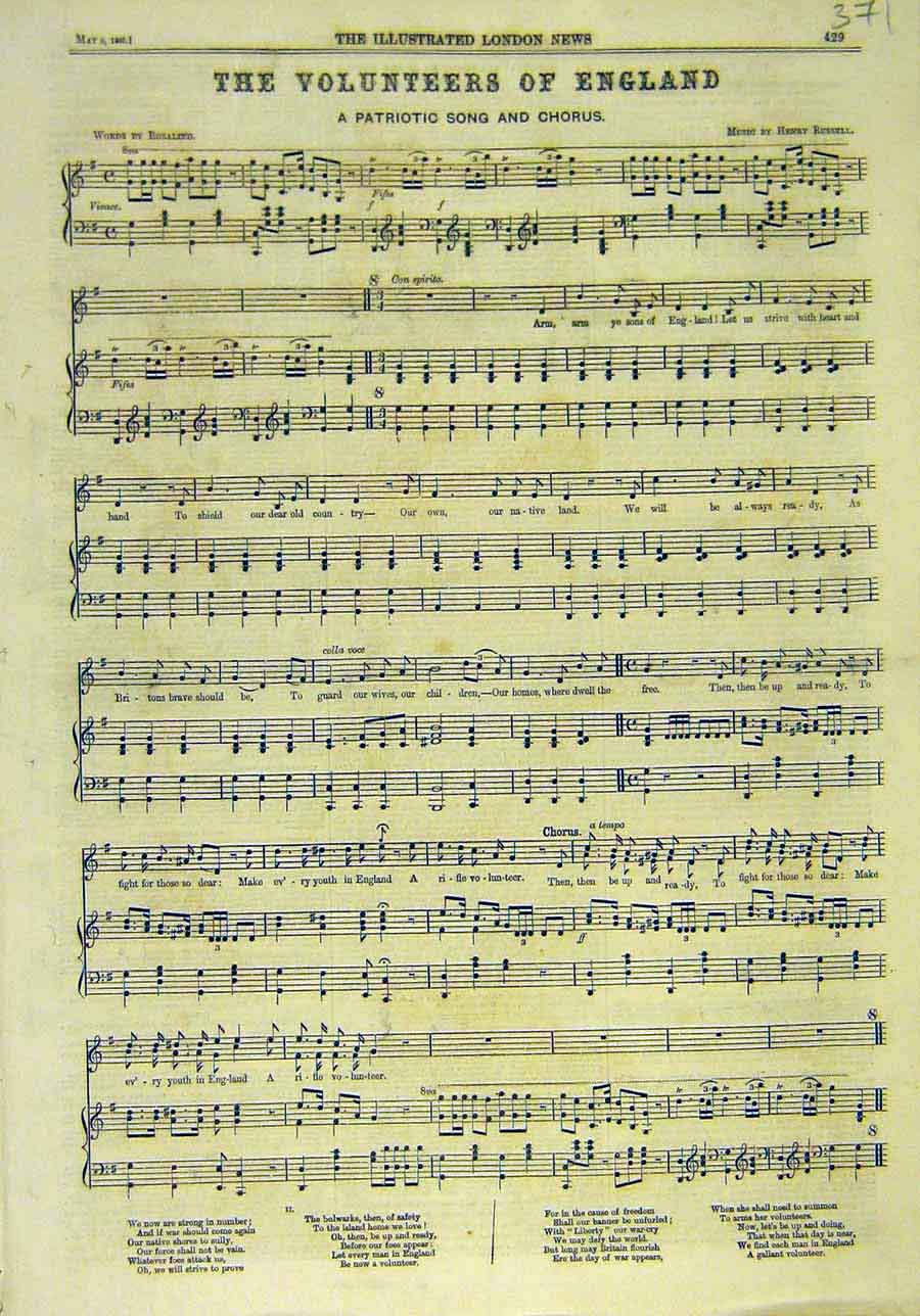 Print 1860 Volunteers England Music-Score Song-Sheet Russell 718011 Old Original