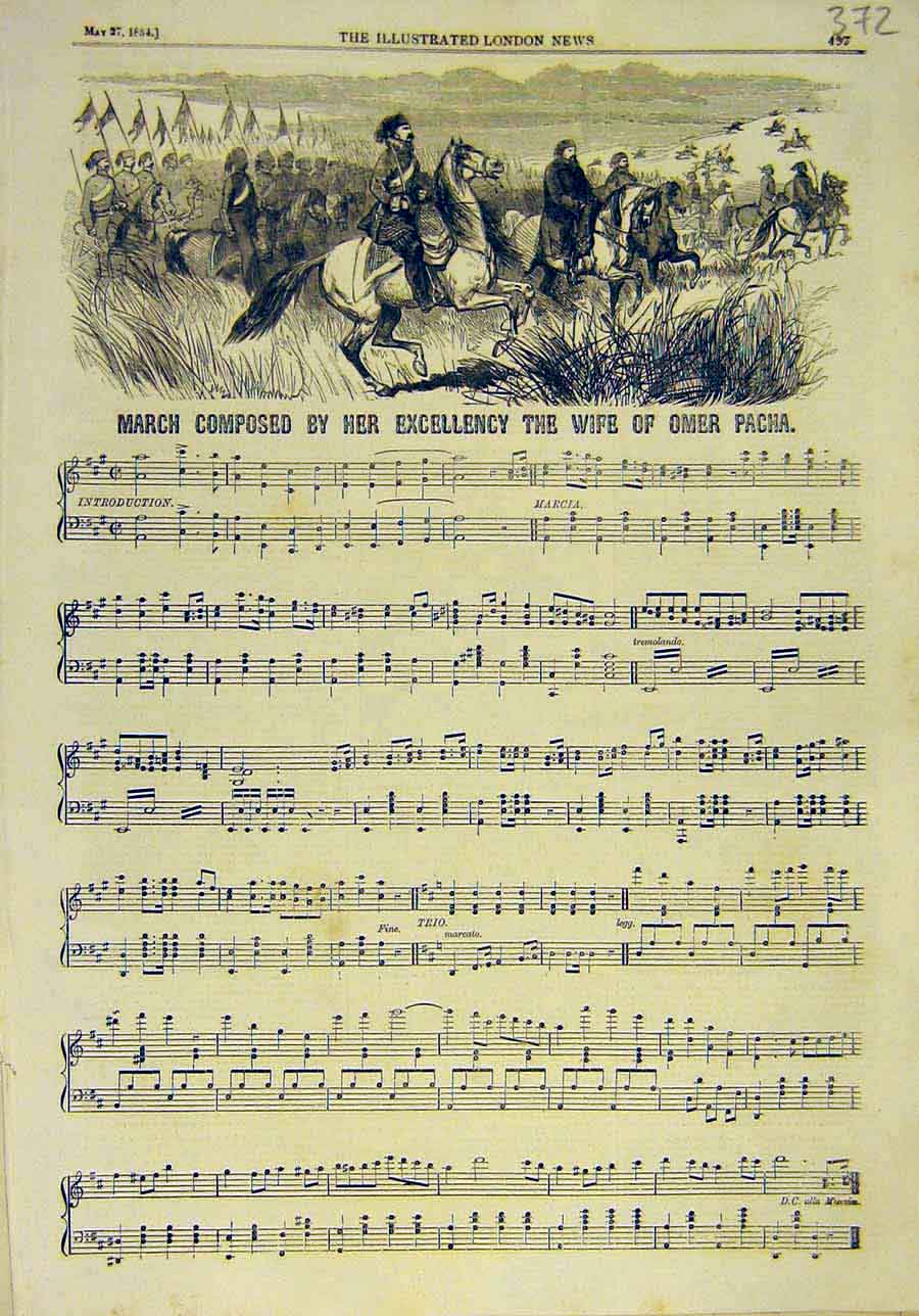 Print 1854 March Music Wife-Omer Pacha Music-Score Military 728011 Old Original