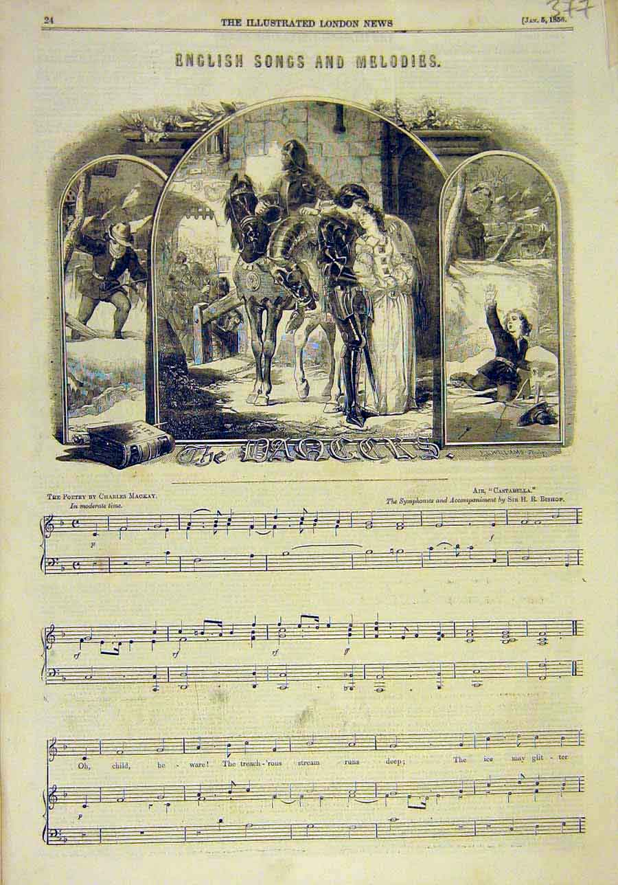 Print 1856 English Melodies Songs The-Dangers Music-Score 778011 Old Original