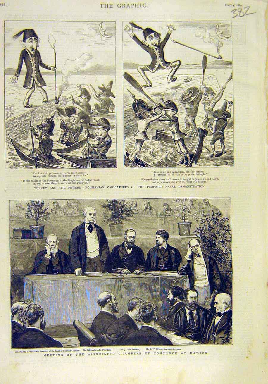 Print 1880 Roumainia Caricature Naval Chamber Commerce Hawick 828011 Old Original