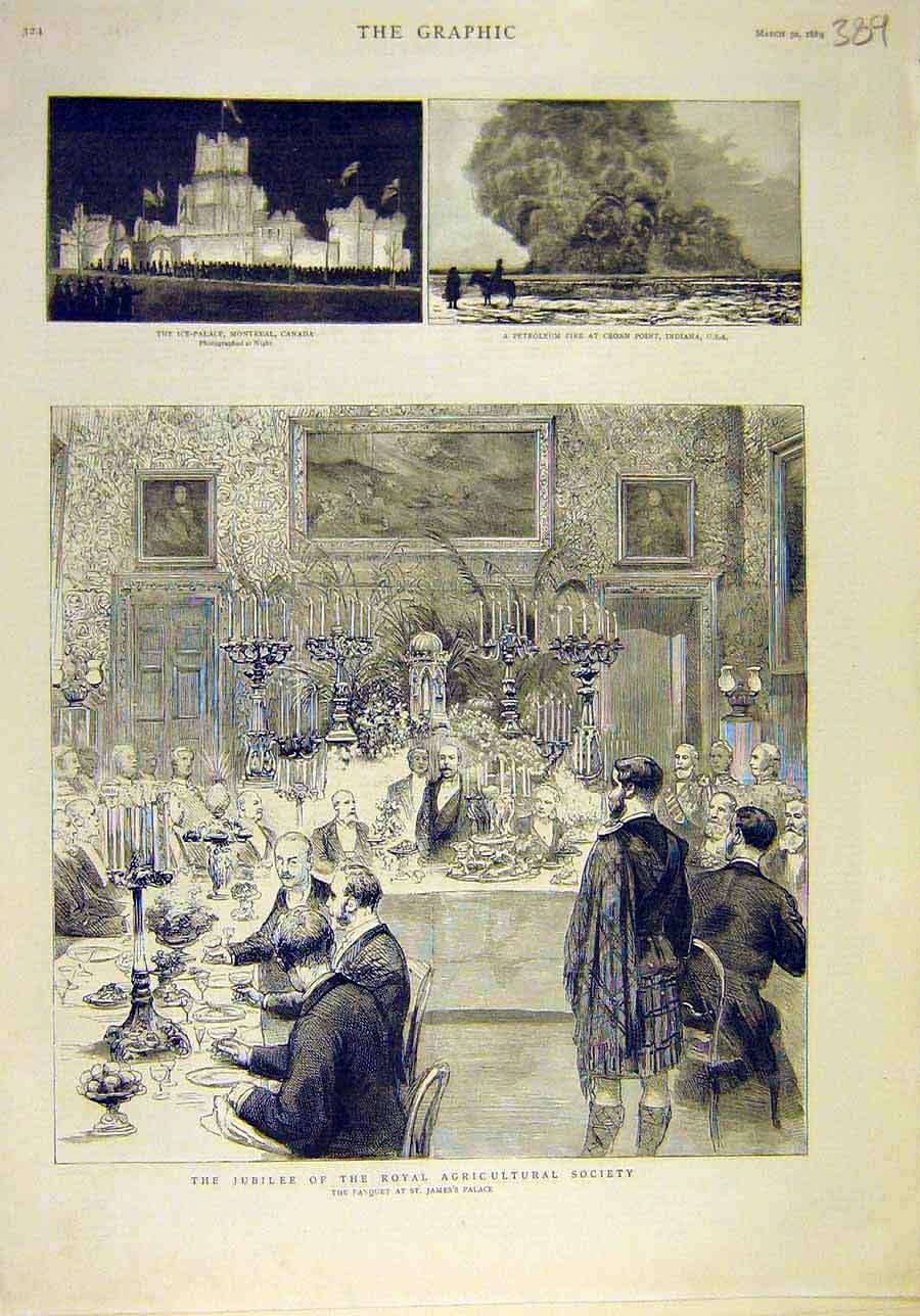 Print 1889 Canada Ice-Palace Fire Petroleum Royal Agriculture 898011 Old Original