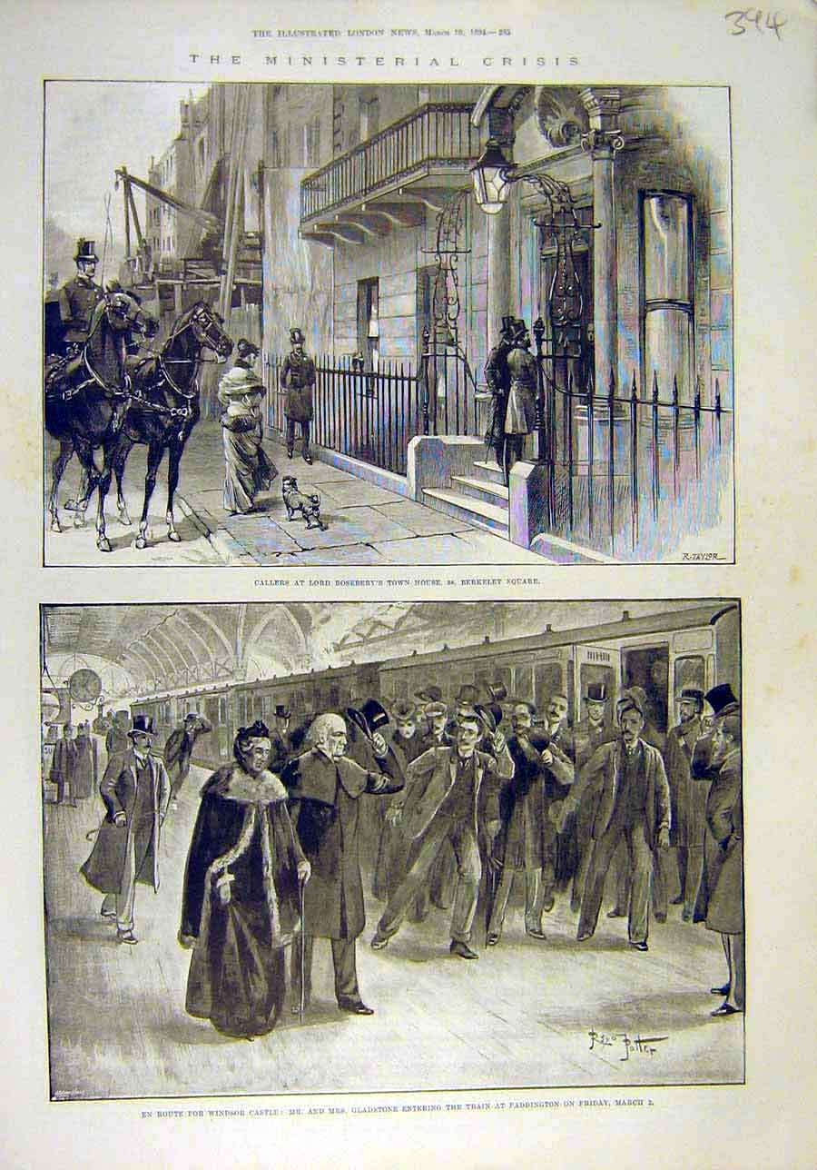[Print 1894 Ministerial Crisis Roseberry Gladstone Paddington 948011 Old Original]