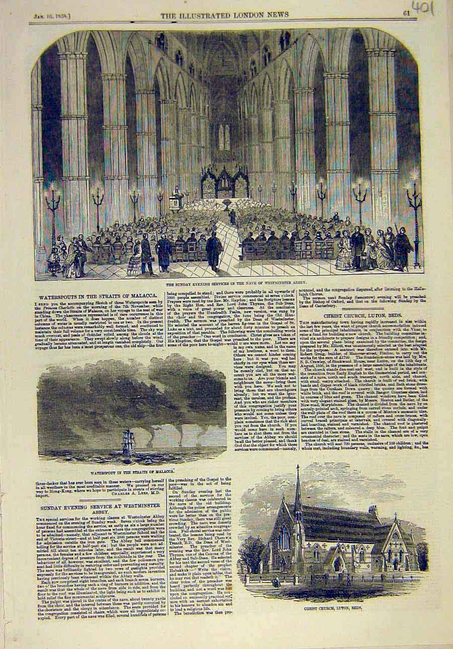 Print 1858 Navev Westminster Abbey Building Waterspout Church 018011 Old Original