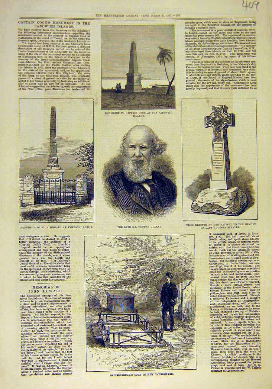 Print 1877 Monument Cook Clarke Gainsborough Howard Stanley 098011 Old Original