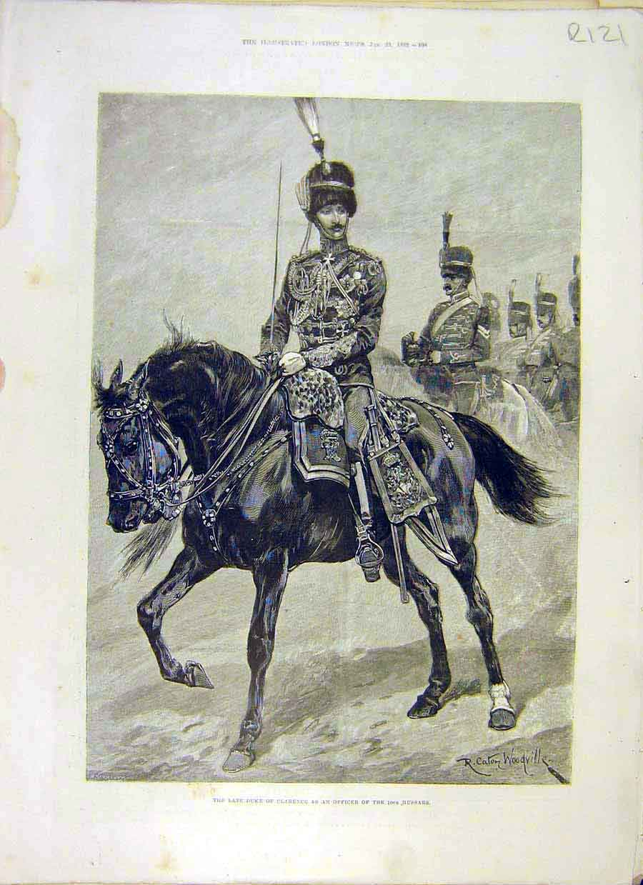 Print 1892 Duke Clarence Hussar Trinity College Prince Albert 21R8031 Old Original