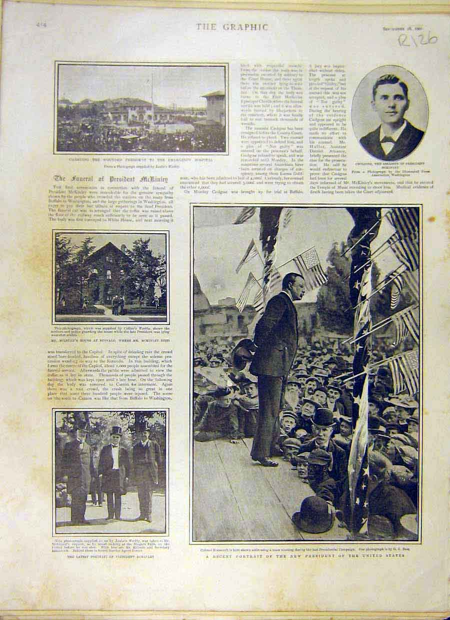 Print 1901 Funeral Mckinley Rooseveldt America-Cup Yachts 26R8031 Old Original