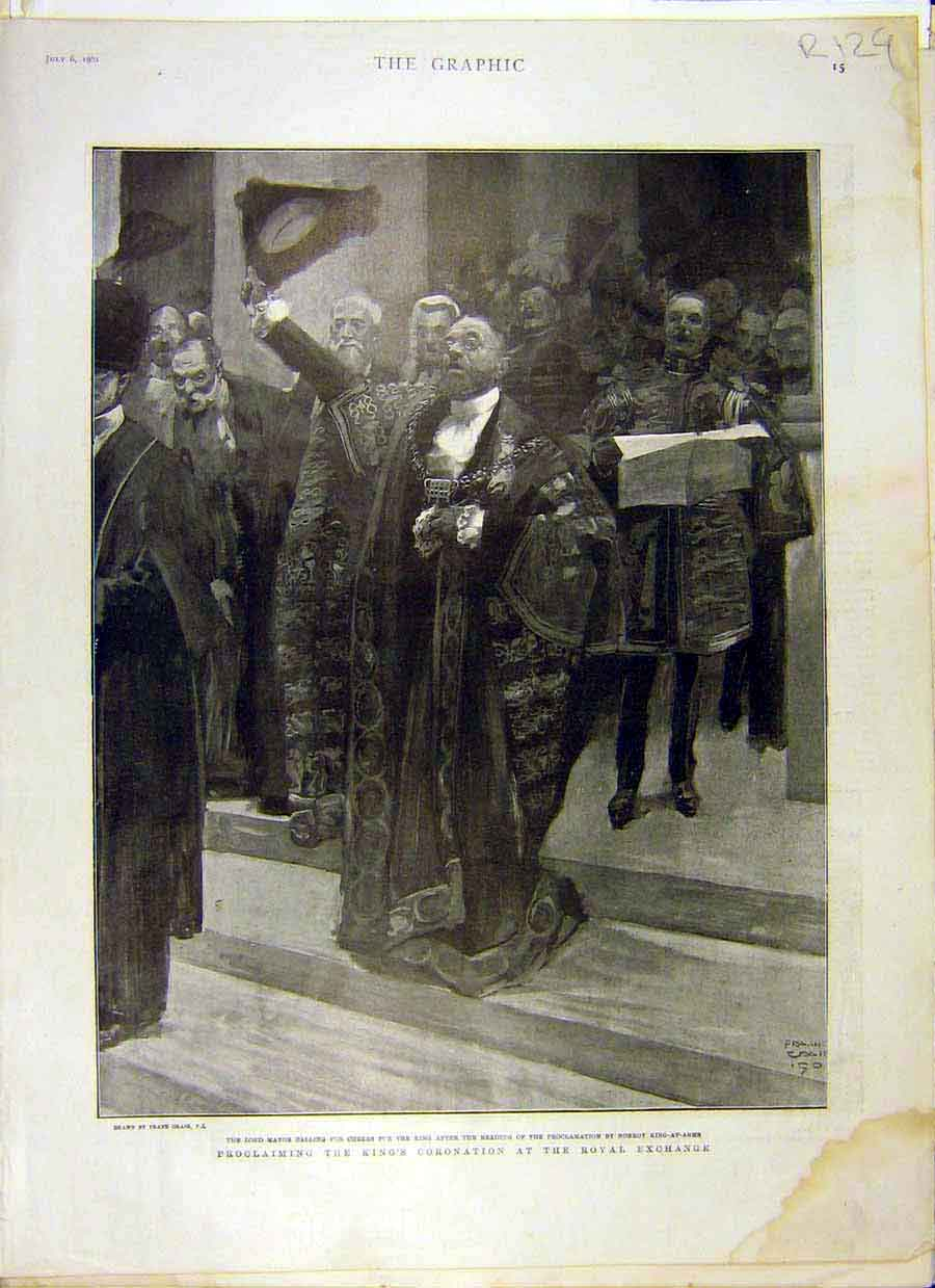 Print 1901 King Coronation Royal Exchange Sketch Italy Lakes 29R8031 Old Original