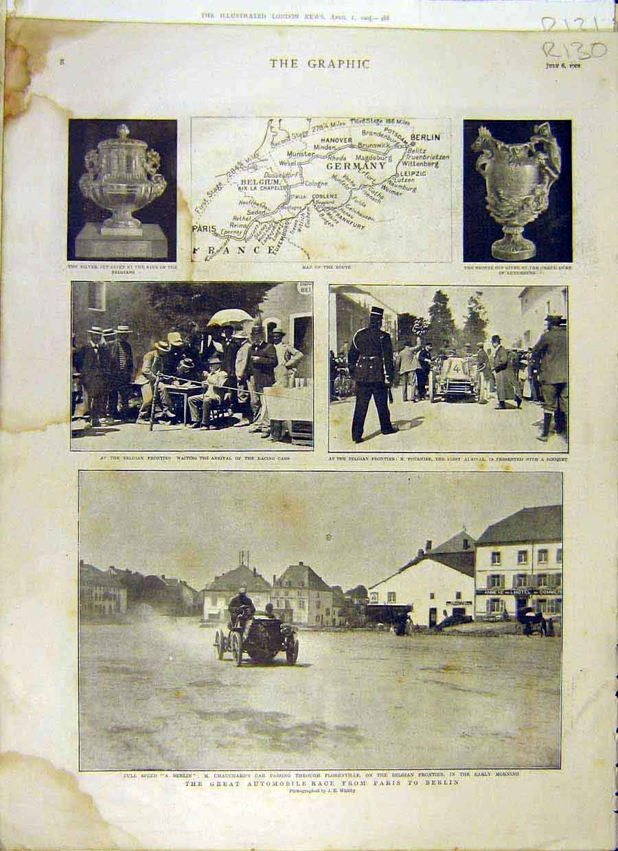 Print 1901 Automobile Race Car Map Yeomen Marlborough King 30R8031 Old Original