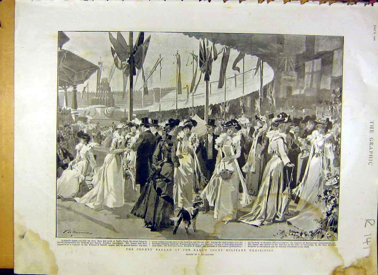 Print 1901 County Bazaar Military Exhibition King Coronation 41R8031 Old Original