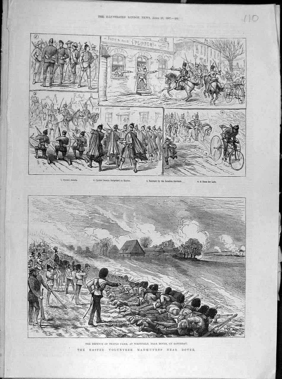 Print 1887 Easter Volunteer Manoeuvres Dover Military 108041 Old Original