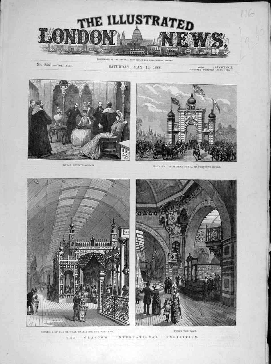 Print 1888 Glasgow Exhibition Provost Central Hall Scotland 168041 Old Original