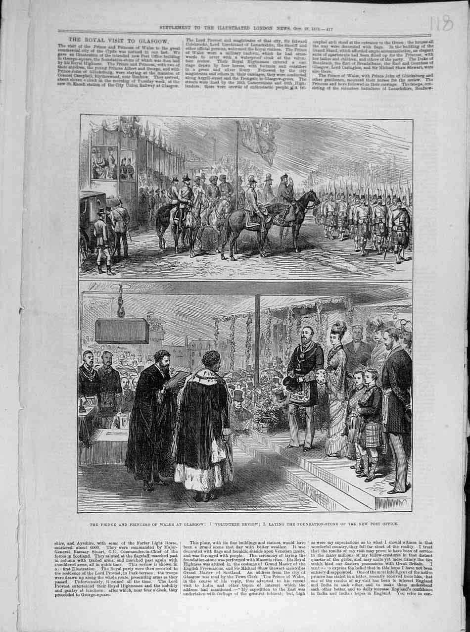 Print 1876 Glasgow Prince Wales Volunteer Review Post-Office 188041 Old Original