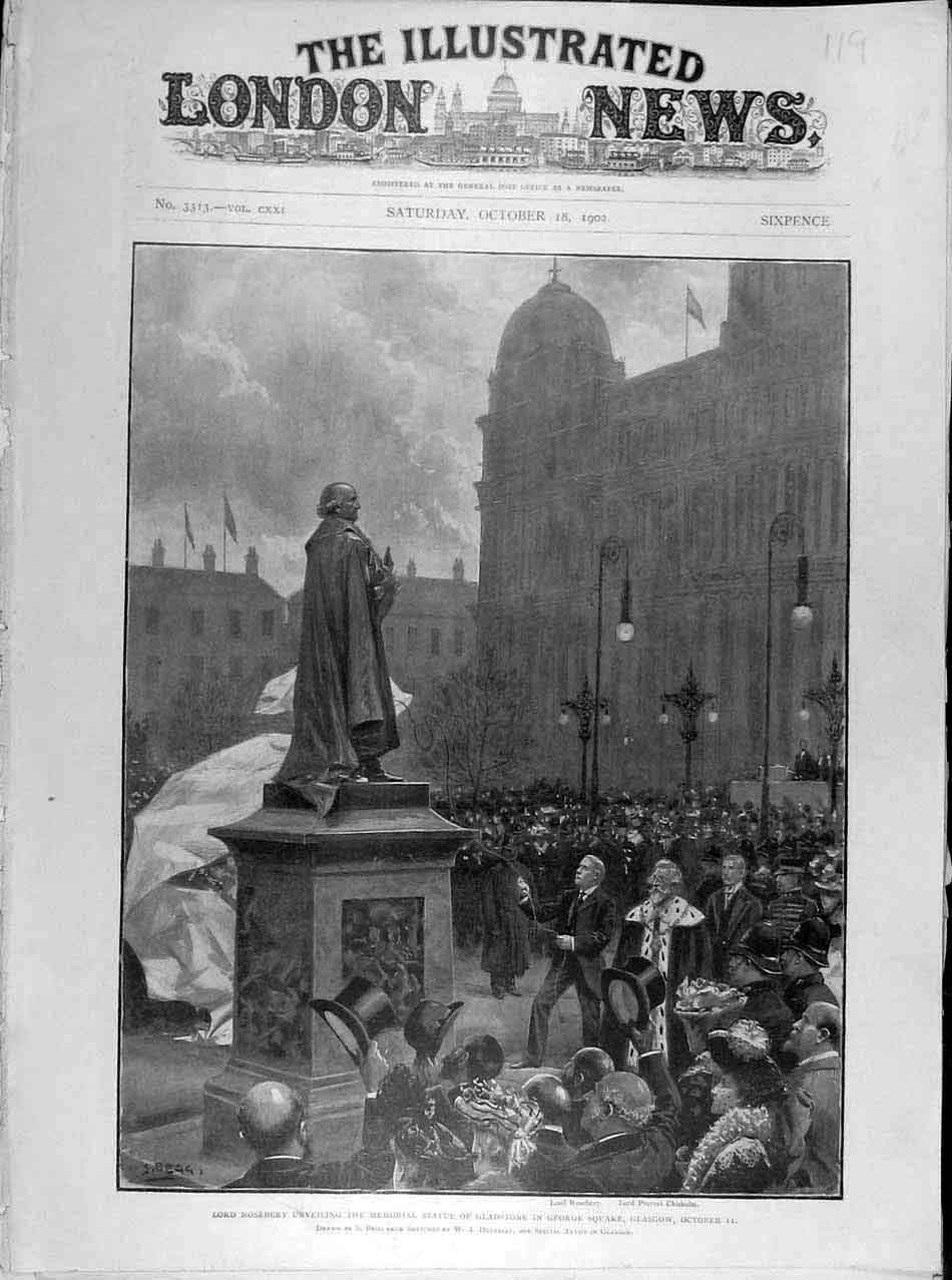 Print 1902 Roseberry Memorial Statue Gladstone Glasgow Begg 198041 Old Original