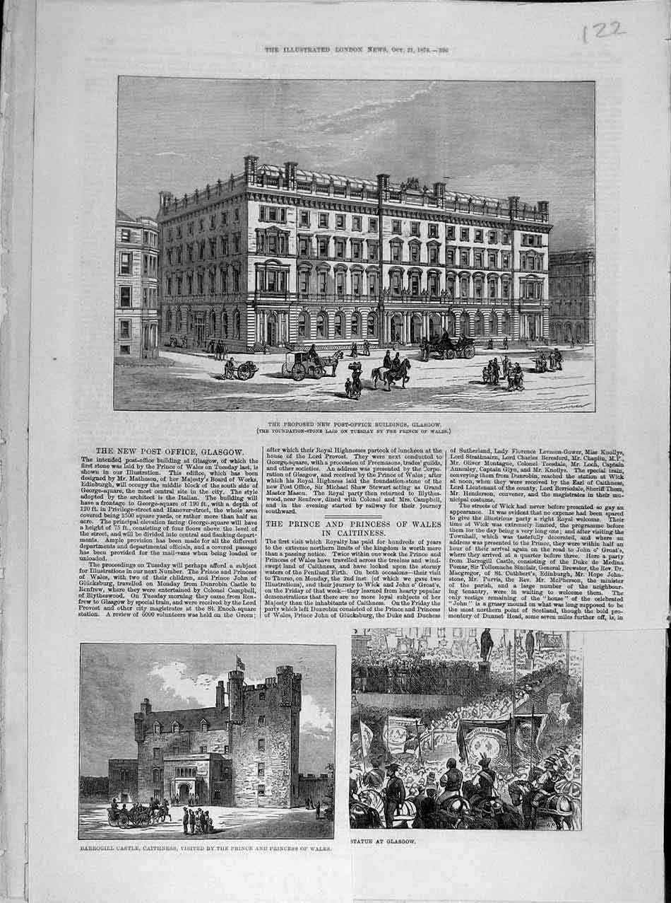 Print 1876 Post-Office Building Glasgow Caithness Scotland 228041 Old Original