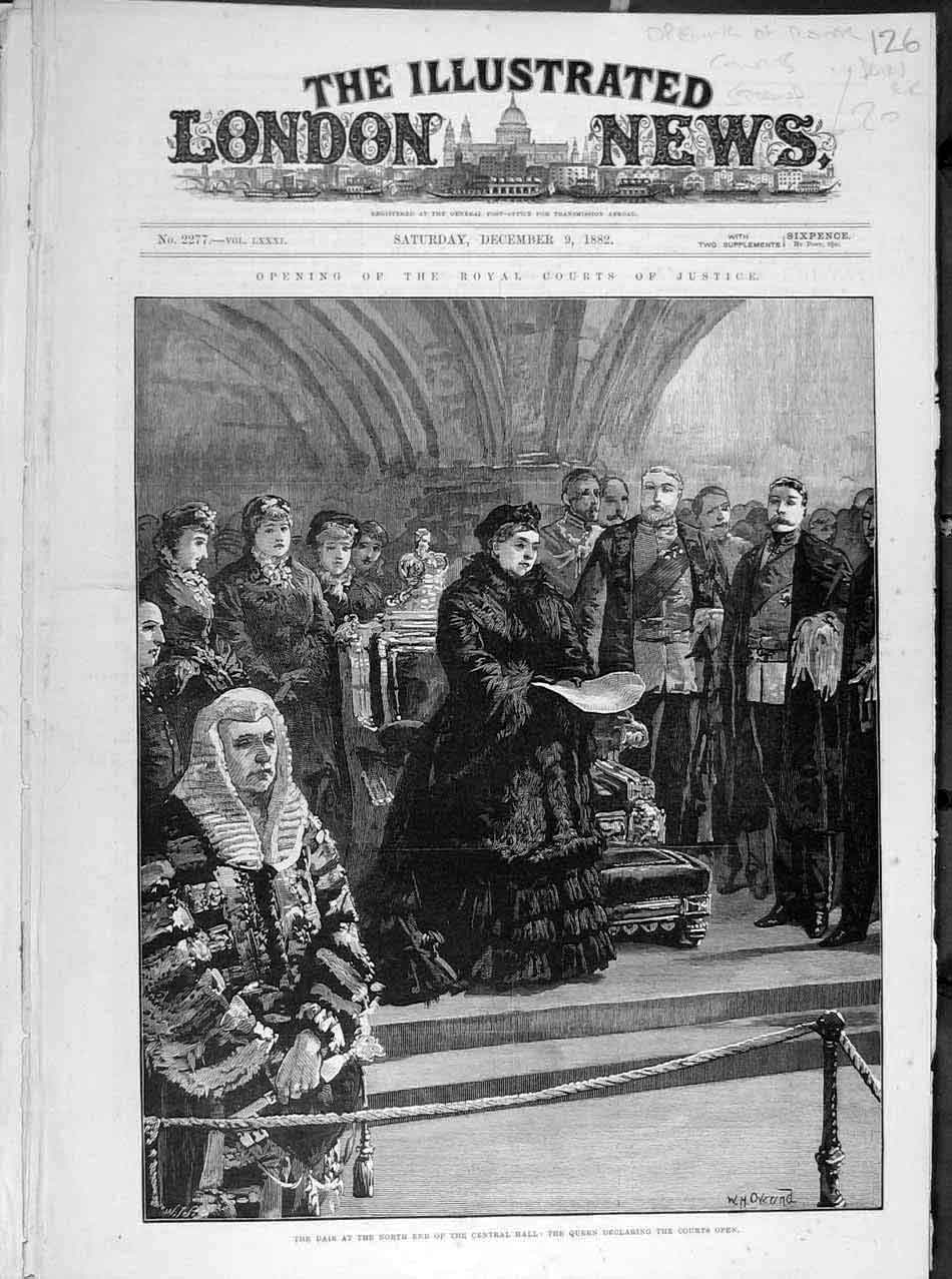 Print 1882 Royal Court Justice Dais Queen Central Hall 268041 Old Original