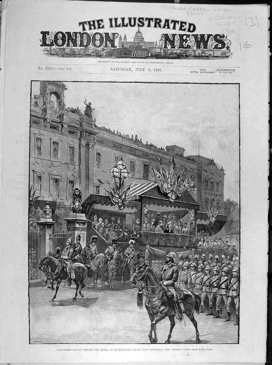 Print 1887 Volunteer Review Buckingham Palace Artists Corps 318041 Old Original