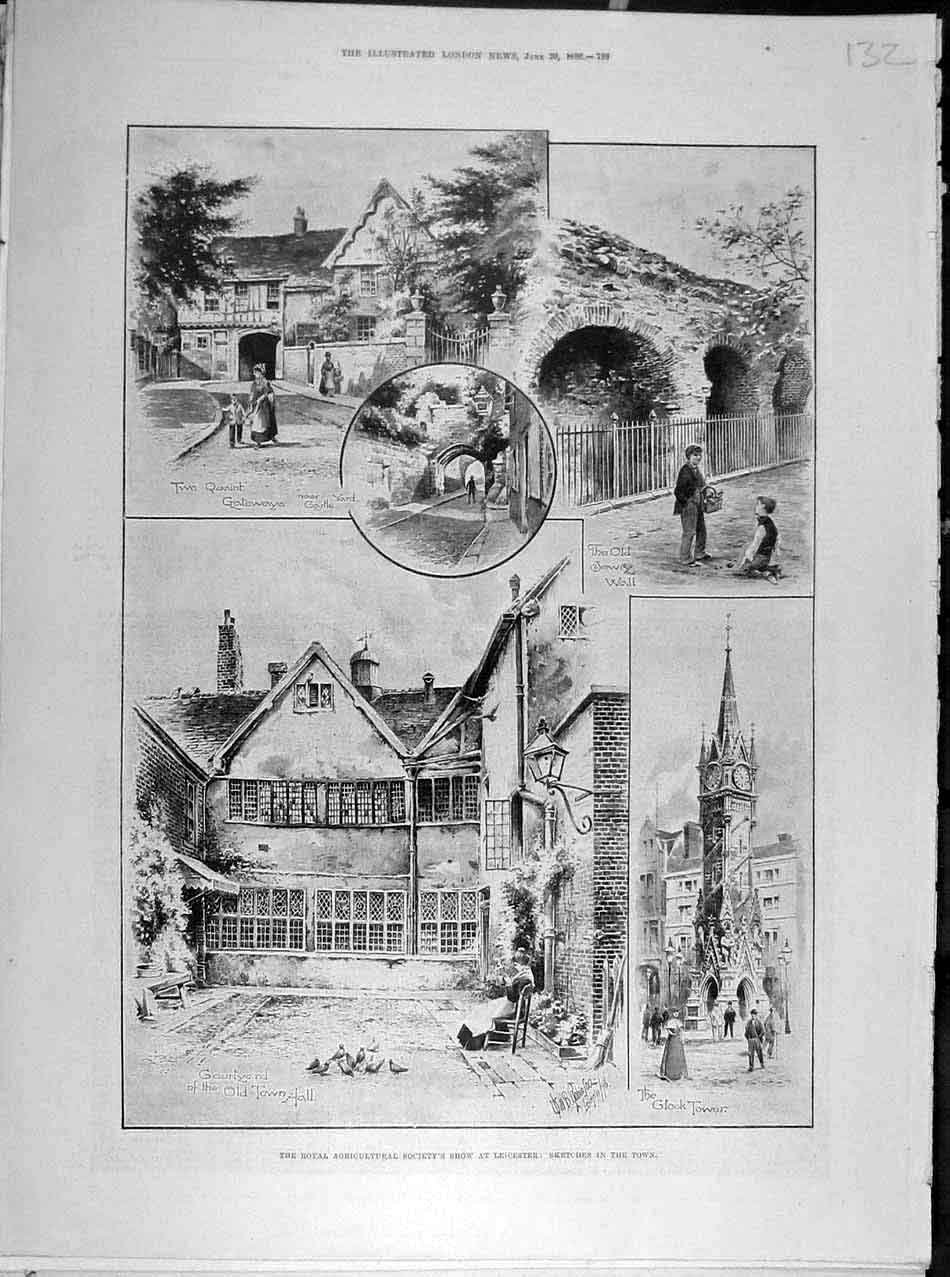 Print 1896 Leiscester Agricultural Show Sketches Town 328041 Old Original