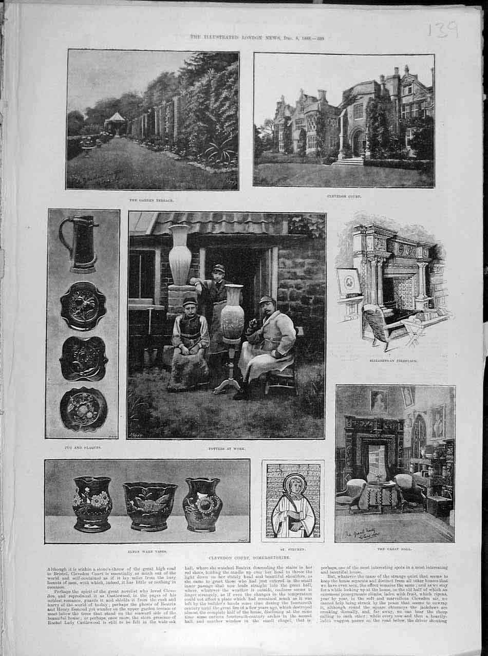 Print 1888 Clevedon Court Somersetshire Vase Potters Hall 398041 Old Original
