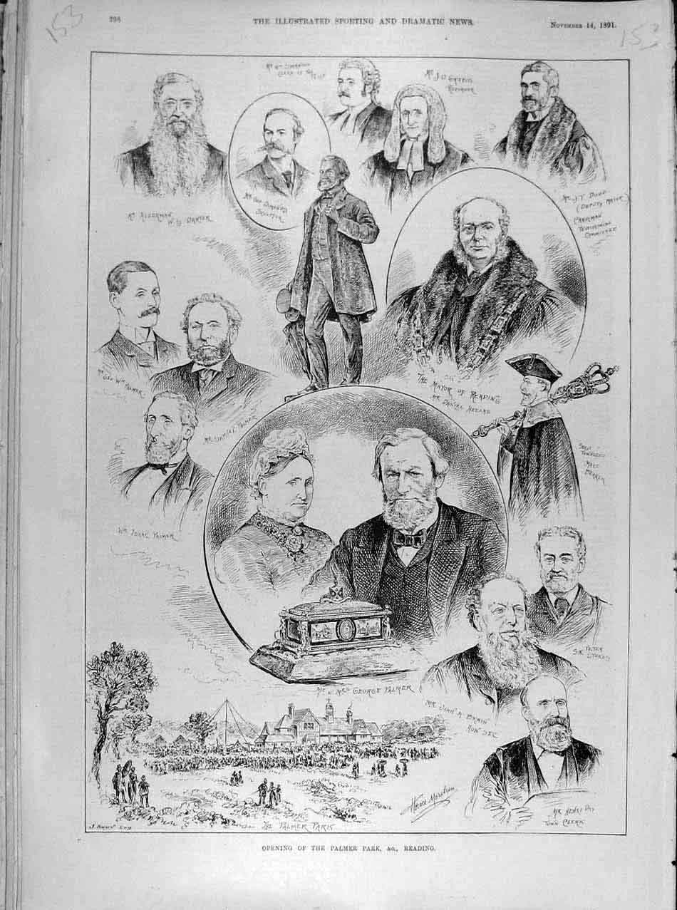 Print 1891 Palmer Park Reading Opening Sketches People 538041 Old Original