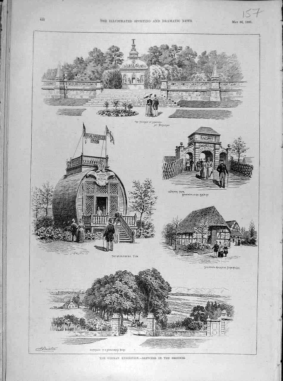 Print 1891 German Exhibition Sketches Potsdam Holstein 578041 Old Original